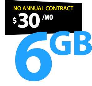 No Contract Unlimited Talk & Text Phone Plan with 6GB Data